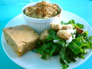 Mac & Cheeze with Jalapeño Cornbread and Caesar Salad