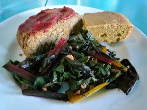 Lentil Loaf with Garlicky Greens and Jalapeño Corn Bread