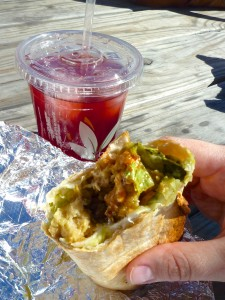 Chimichurri Seitan Wrap and Hibiscus Tea from Conscious Cravings