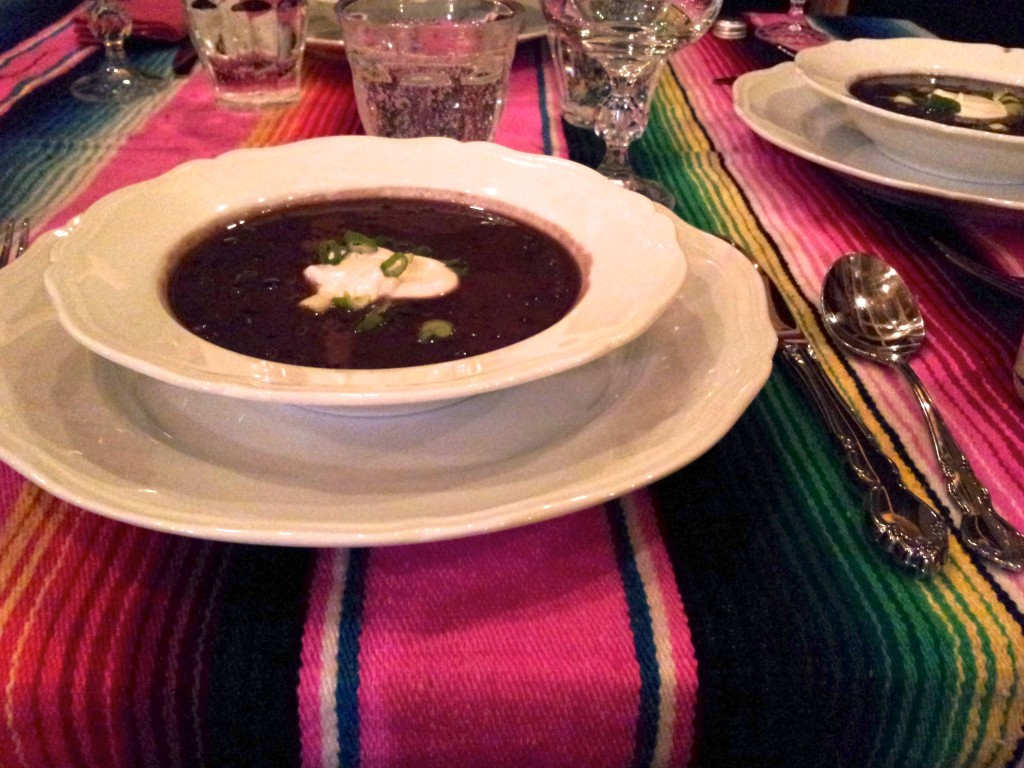 First course of Cuban black bean soup.