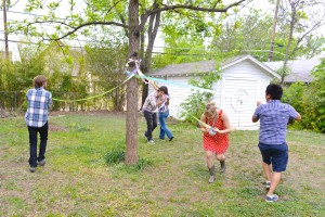 """We """"danced"""" around the """"maypole"""" creating some lovely ribbon """"art""""."""