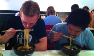 Ross and Dan dig into their vegan ramen
