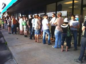 Line to get in the door at Ramen Tatsu-Ya