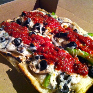 Closeup of the herbivore pizza from Via 313.