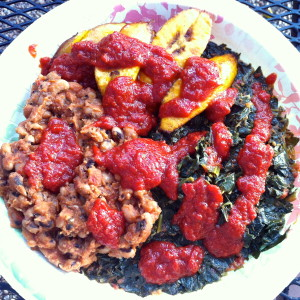 Black-eyed Peas, Spinach and Fried Plantains plate from Wasota African Cuisine