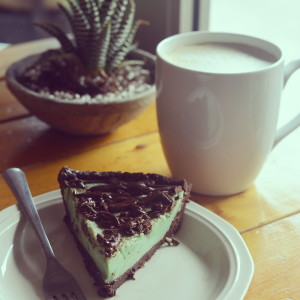 Vegan grasshopper pie and a latte from Thai Fresh.