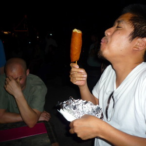 Me worshipping the corn dog gods.