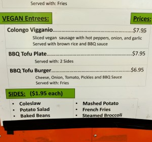 Vegan Menu at BBQ Trailer on E 6th
