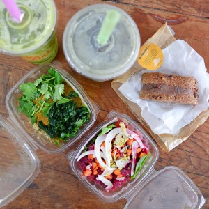 Assorted salads, smoothies and a Mannawich from Juiceland