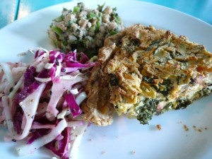 Quiche of the Day with Cole Slaw and Texas Caviar