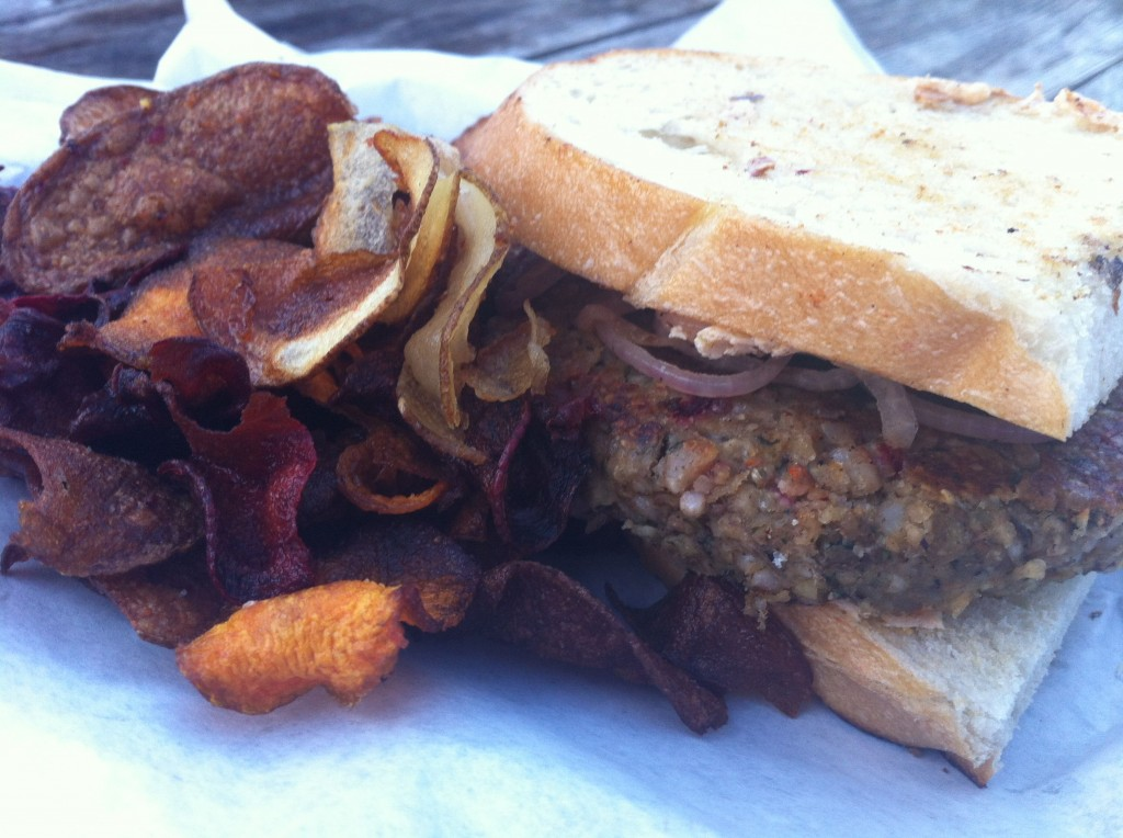 Good Seed Burger on a Patty Melt with Root Vegetable Chips