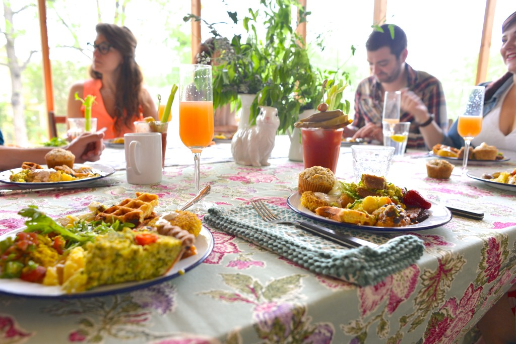 Ready to chow down on our delicious vegan Easter brunch.