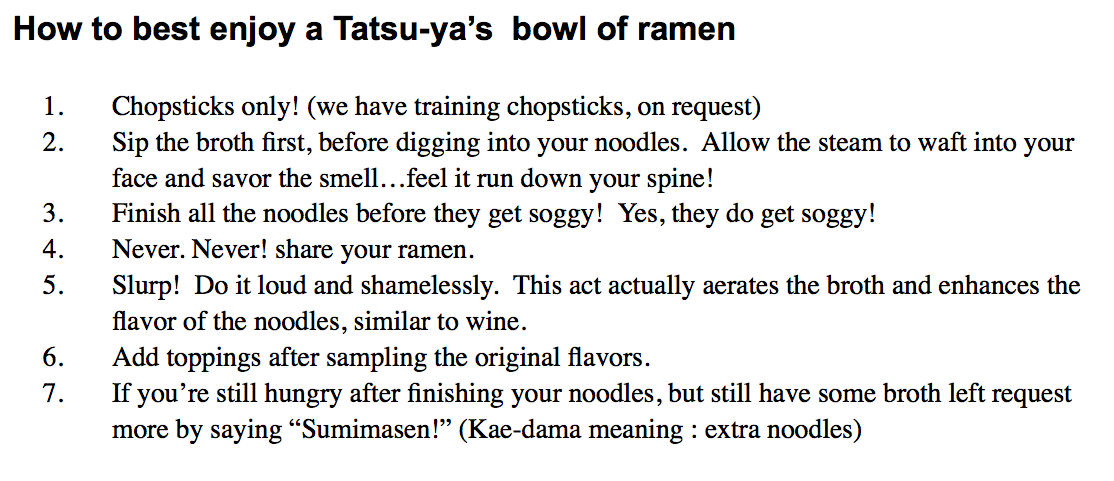 Ramen Guide from Tatsu-Ya