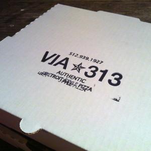 Via 313 pizza box containing pizza gold.