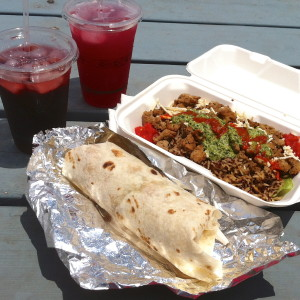 Blueberry lemonade, hibiscus ice tea, Chimichurri Seitan over quinoa and The Bella wrap.