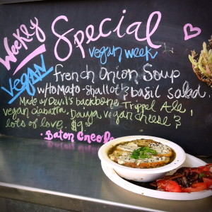 Vegan French Onion Soup Special at Baton Creole