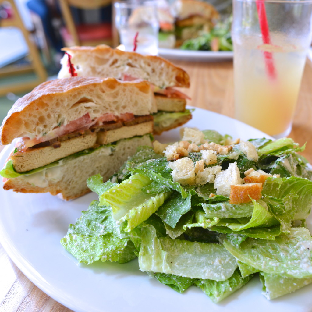 Vegan TBLT with Caesar Salad from The Steeping Room
