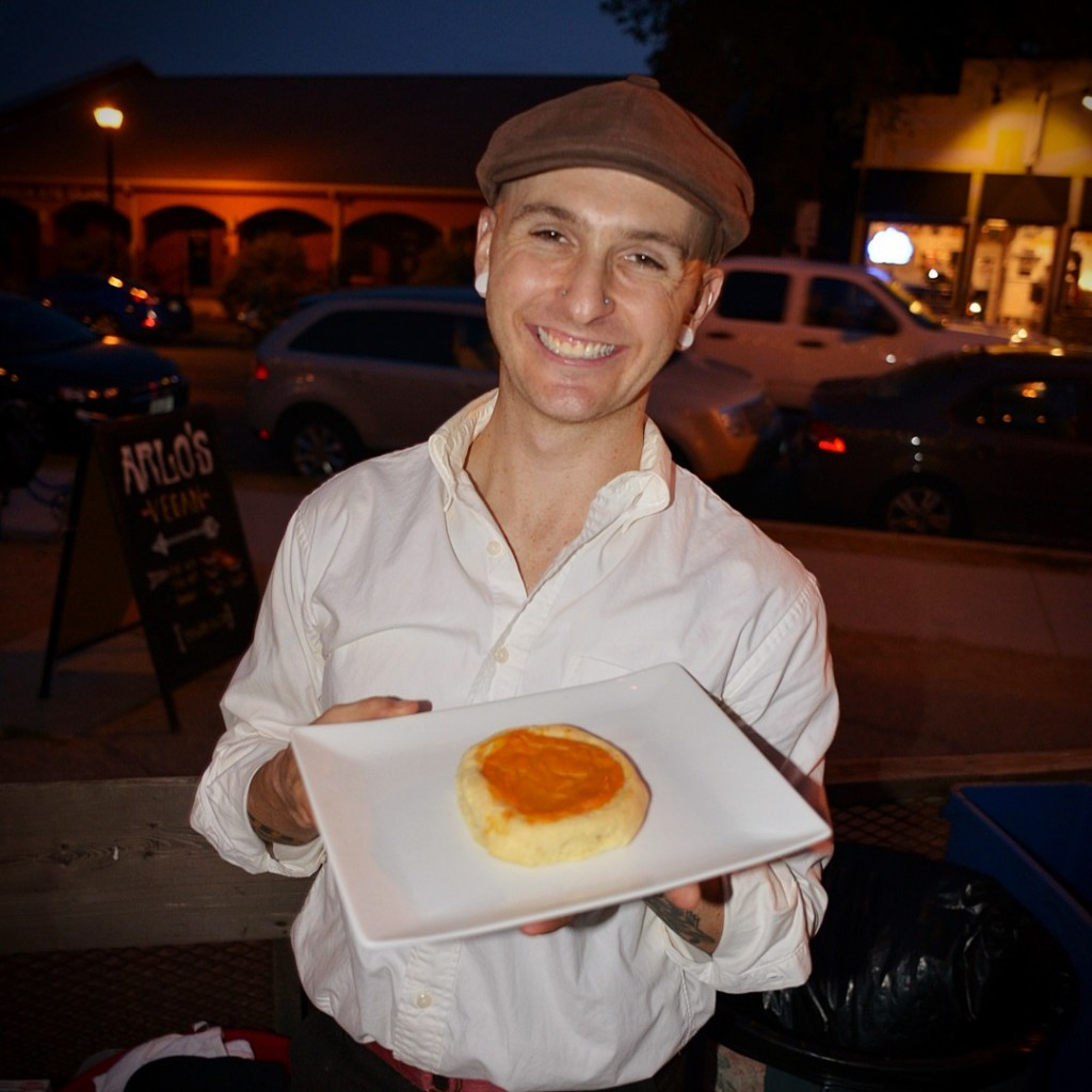 Craig Vanis with one of his delicious kolaches at ATX Vegan Drinks
