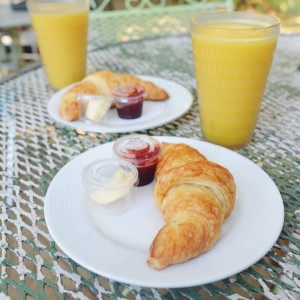Vegan croissant and OJ from Thai Fresh